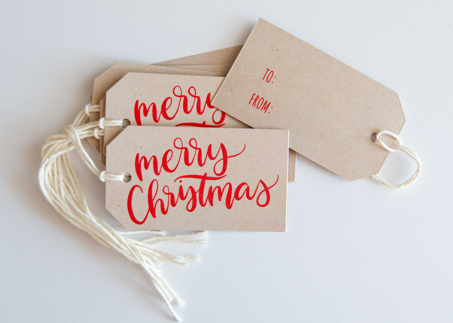 Merry Christmas Gift Tags.Hand Lettered Merry Christmas Gift Tags Fresh Cut Prints