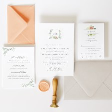 agonis laurel initials wedding invitation suite