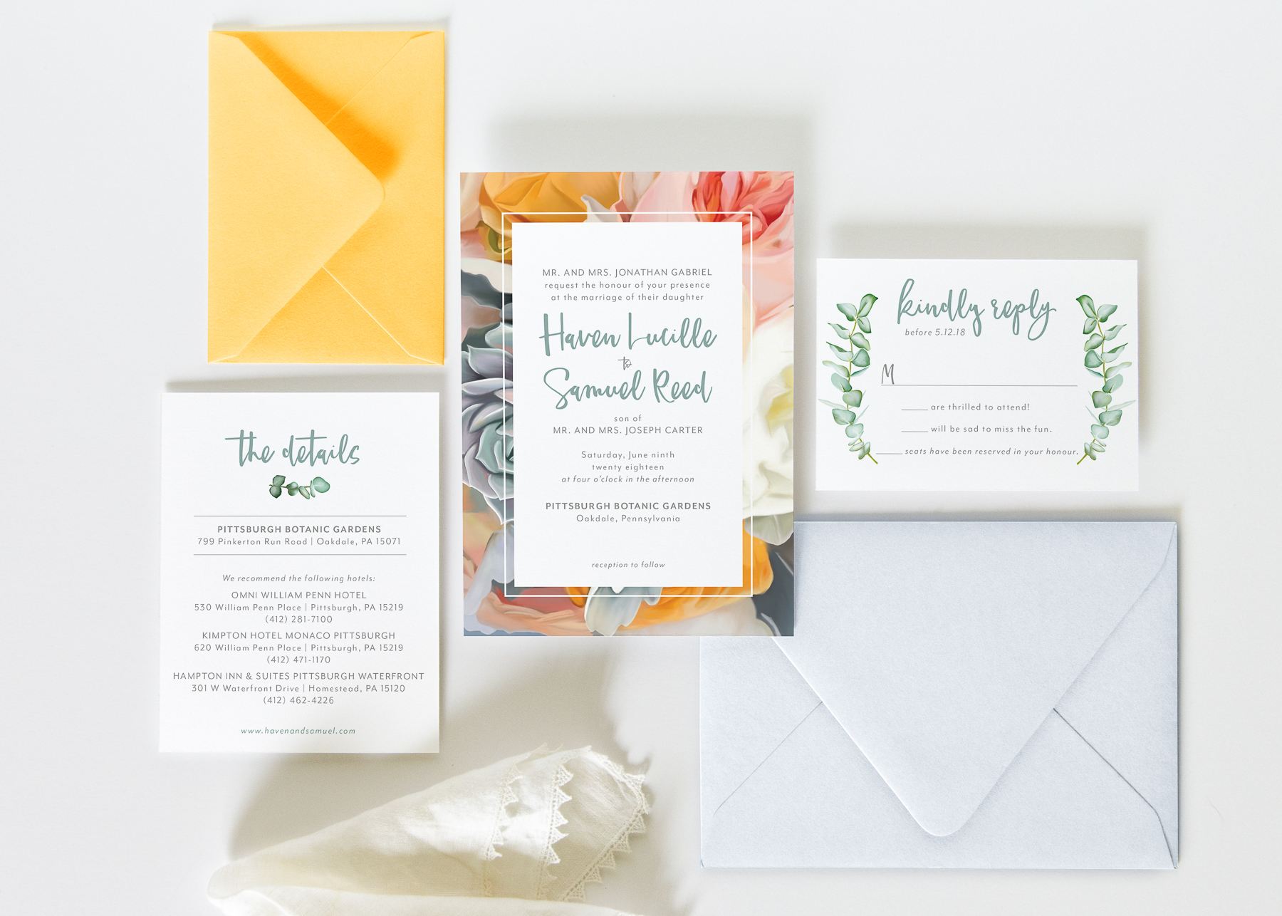 bold floral yellow and blue wedding invitation
