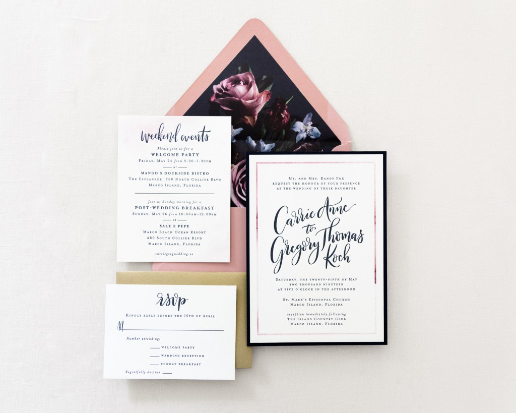 hand lettered floral wedding invitation suite