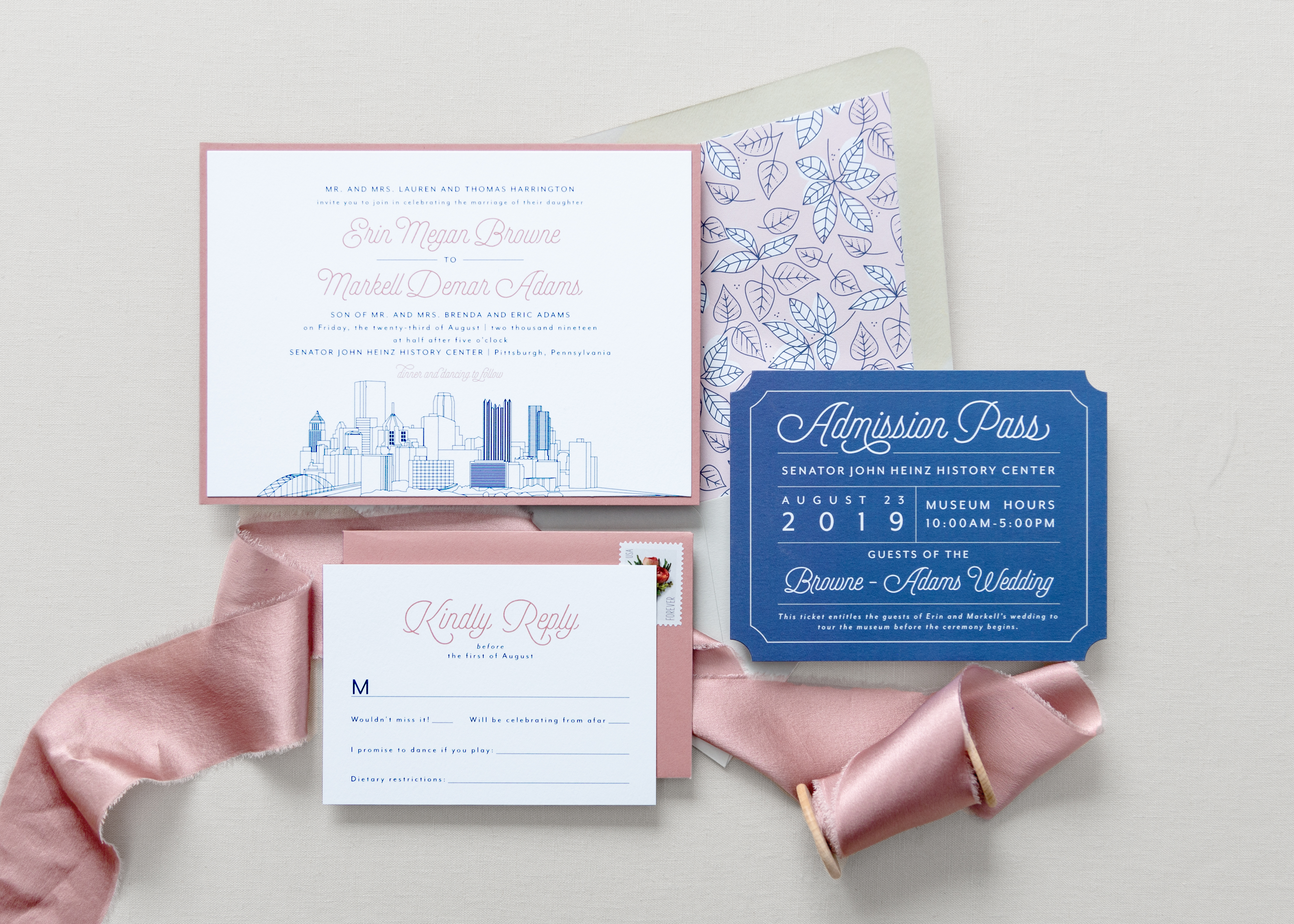 Pittsburgh skyline wedding invitation