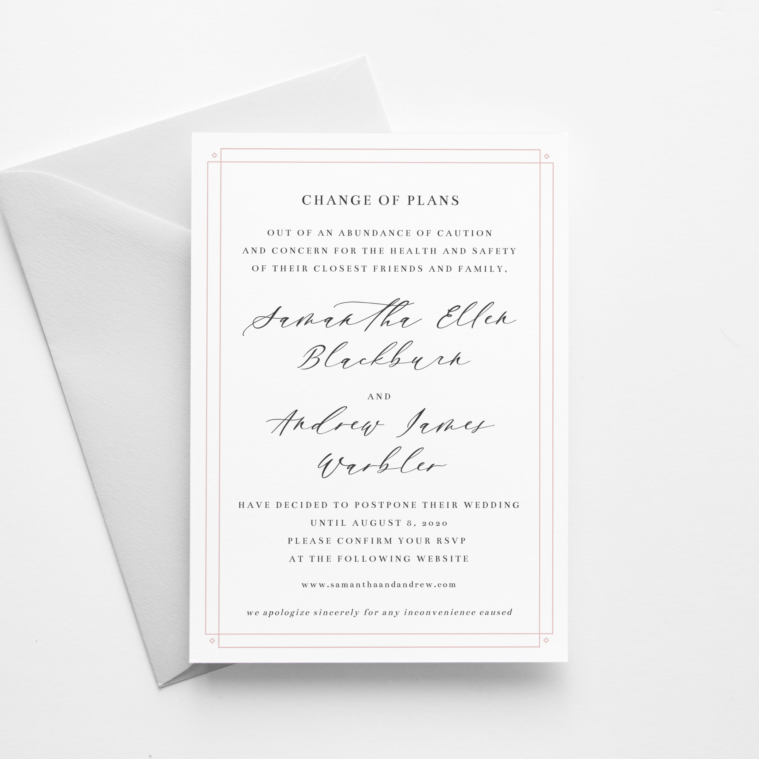 Wedding Postponement Announcement Template