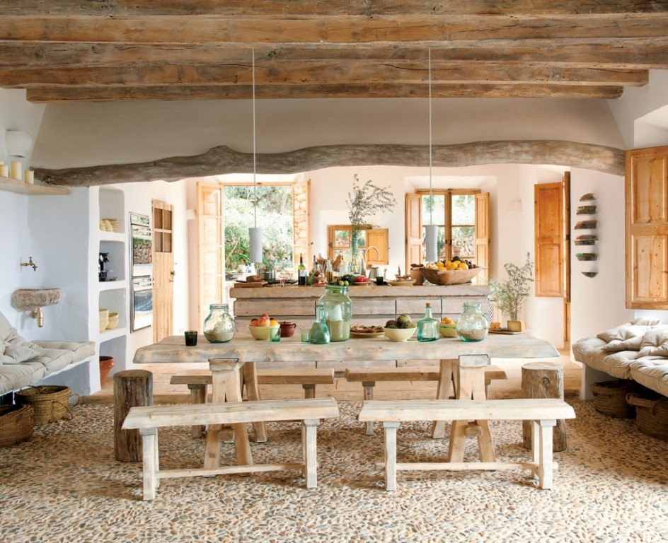 Modern semi rustic house plans with wrap around porch dining table