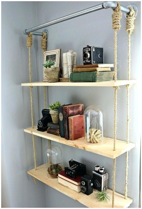 Creative DIY Hanging Wire Shelves From Ceiling