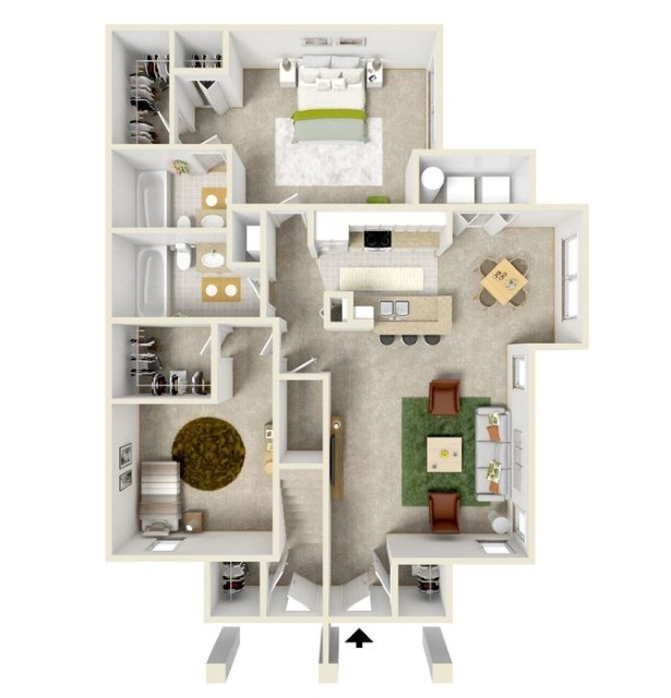 House Plans With 2 Master Bedrooms Downstairs 3D