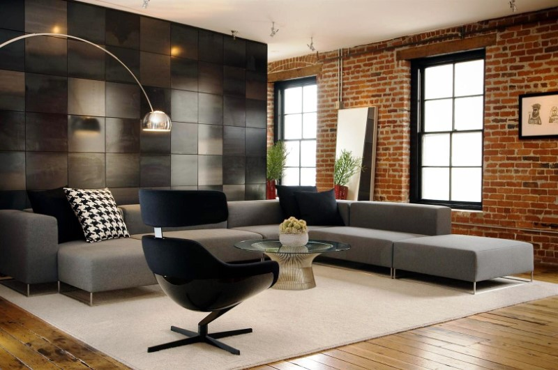 Living Room Decor With Modern Brick Boundary Wall Designs