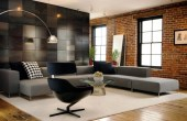 Living Room Decor With Modern Brick Boundary Wall Designs