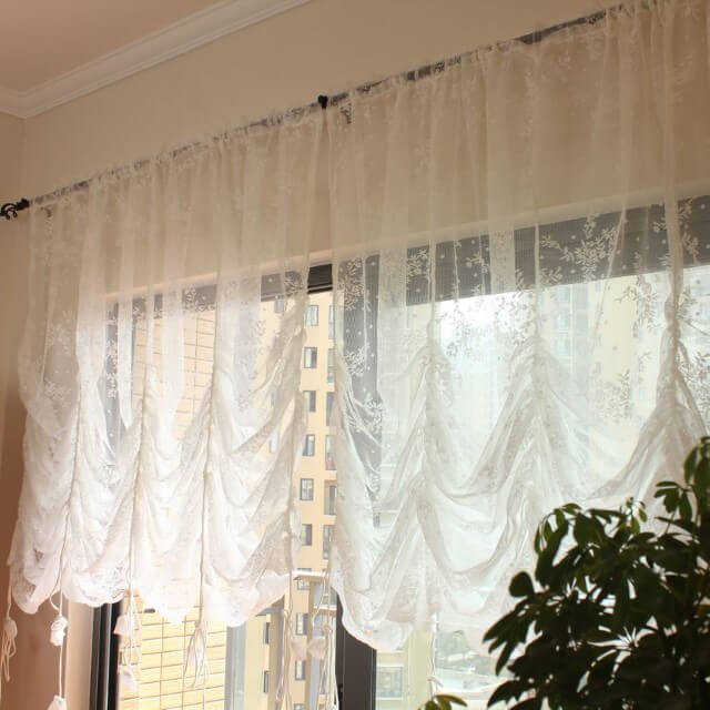 Balloon Curtains for Living Room white and transparent