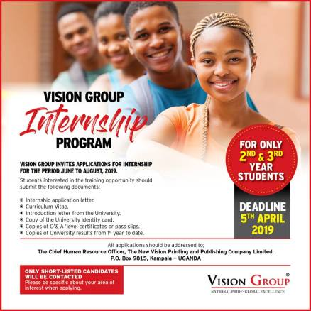 Vision Group Internship Program - June to August 2019