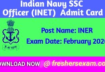 Indian Navy SSC Officer (INET) Admit Card 2020 download link