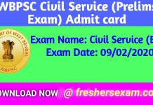 WBPSC Civil Service (Exe) Admit Card 2020 | Download link