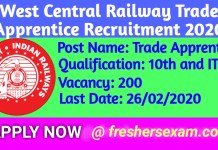 Railway Recruitment,West Central Railway Trade Apprentice Recruitment 2020