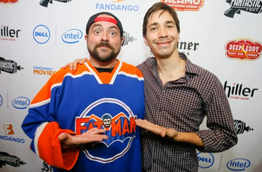 Writer-director Kevin Smith and TUSK star Justin Long on the opening night of Fantastic Fest at the Alamo Drafthouse- South Lamar in Austin, Texas on Thursday, Sept. 18, 2014. Photo courtesy of Jack Plunkett.