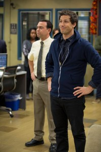 "Detectives Boyle (Joe Lo Truglio, L) and Peralta (Andy Samberg, R) are on lockdown mode on Thanksgiving night in the ""Lockdown"" episode of BROOKLYN NINE-NINE airing Sunday, Nov. 16 (8:30-9:00 PM ET/PT) on FOX. ©2014 Fox Broadcasting Co. CR: John Fleenor/FOX"