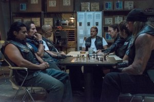"SONS OF ANARCHY -- ""Suits of Woe "" -- Episode 711 -- Airs Tuesday, November 18, 10:00 pm e/p) -- Pictured: (L-R) Jacob Vargas as Montez, Kim Coates as Tig Trager, David Labrava as Happy, Charlie Hunnam as Jax Teller, Tommy Flanagan as Chibs Telford, Niko Nicotera as Ratboy, Rusty Coones as Quinn. CR: Prashant Gupta/FX"