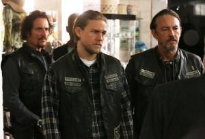 (L-R) Kim Coates as Tig Trager, Charlie Hunnam as Jax Teller, Tommy Flanagan as Chibs Telford. Photo courtesy of Byron Cohen/FX.
