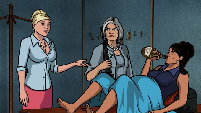 "ARCHER: Episode 13 from Season 5 - ""Archer Vice: Arrival/Departure."" Pictured: (L-R) Pam Poovey (voice of Amber Nash), Malory Archer (voice of Jessica Walter), and Lana Kane (voice of Aisha Tyler). Photo courtesy FX Networks."