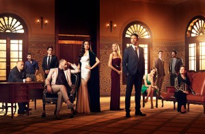 TYRANT - Pictured: (L-R) Salim Daw as Yussef, Mehdi Dehbi as Abdul, Noah Silver as Sammy, Ashraf Barhom as Jamal, Moran Atias as Leila, Jennifer Finnigan as Molly, Adam Rayner as Barry, Anne Winters as Emma, Justin Kirk as John Tucker, Fares Fares as Fauzi, Alice Krige as Amira. CR: Matthias Clamer/FX.