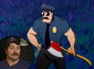 Nick Offerman executive produces and voices the title character in AXE COP.