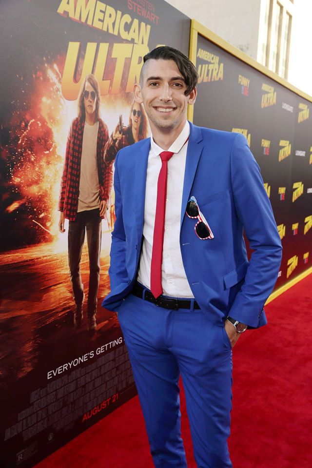 AMERICAN ULTRA's writer Max Landis, son of John Landis, arrives at the World Premiere red carpet.