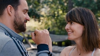 From Left To Right Tim (Jake Johnson) & Lee (Rosemarie Dewitt) parting ways before the adventure begins.