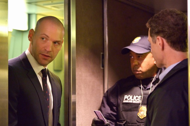 Corey Stoll rocking his new shiny dome as Ephraim Goodweather. Photo courtesy of Michael Gibson/FX.