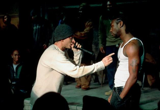 Eminem (left) as B-rabbit getting his first break through as an underground rapper.