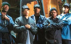 Aldis Hodge as MC Ren, Neil Brown Jr. as Dj Yella, Corey Hawkins as Dr. Dre, Jason Mitchell as Eazy-E, and O'Shea Jackson Jr. as Ice Cube. Photo courtesy of Universal Pictures.