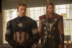 Chris Evans and Chris Hemsworth in AVENGERS AGE OF ULTRON. Courtesy of Marvel.