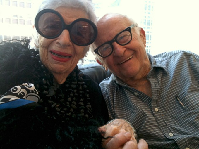 Iris Apfel and Albert Maysels share a moment before filming IRIS. Courtesy of Magnolia Pictures.