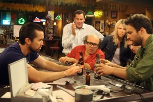 L-R: Rob McElhenney as Mac, Andy Buckley as Andy, Danny DeVito as Frank, Kaitlin Olson as Dee, Glenn Howerton as Dennis, Charlie Day as Charlie. Photo Courtesy of Patrick McElhenney/FX.