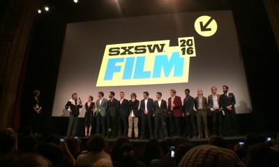 Richard Linklater (left) and the cast of EVERYBODY WANTS SOME!! at SXSW.