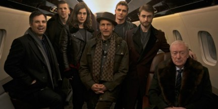 Left to Right Mark Ruffalo Jesse Eisenberg, Lizzy Caplan, Wood Harrelson, Dave Franco, Daniel Radcliffe, Michael Caine (photo courtest of Summit Entertainment)
