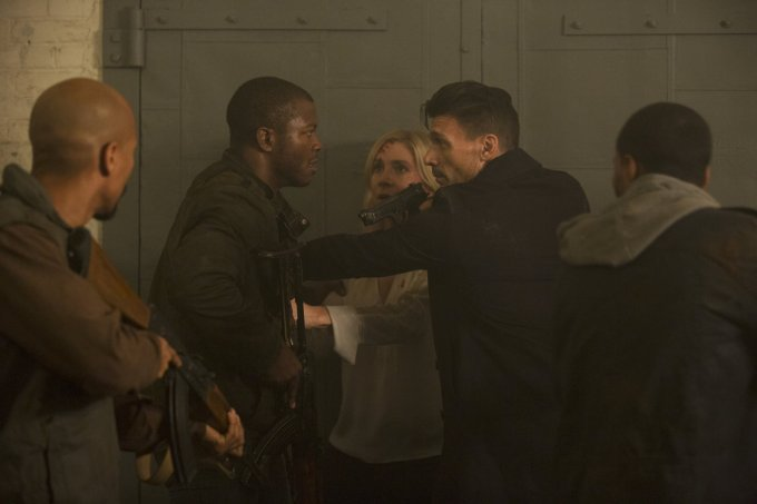 From Left to Right: Edwin Hodge, Frank Grillo & Elizabeth Mitchell (Photo Courtesy of Universal)