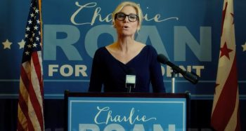 "Senator Charlie Roan (Elizabeth Mitchell) runs her presidential campaign on the platform of abolishing ""The Purge"" (Photo Courtesy of Universal)"