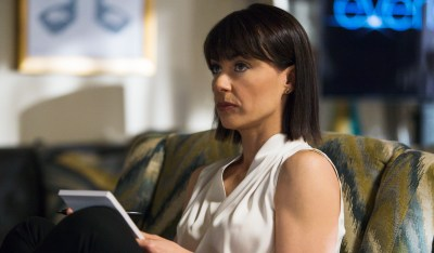 "Constance Zimmer as Quinn in tonight's ""Treason."" Photo courtesy of James Dittiger."