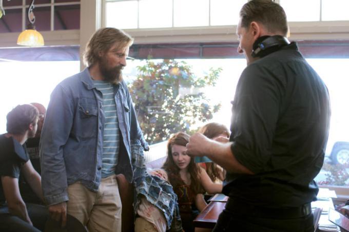 Viggo Mortensen, Charlie Shotwell, Samantha Isler and director Matt Ross discuss a scene on set. Photo courtesy of Erik Simkins / Bleecker Street.