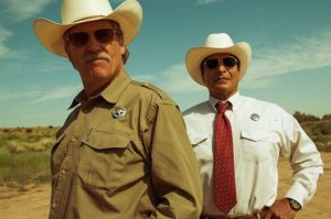 Jeff Bridges and Gil Birmingham play a pair of Texas Rangers. Photo courtesy of CBS Films.
