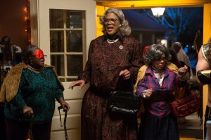 Cassi Davis, Tyler Perry and Patrice Lovely in TYLER PERRY'S BOO! A MADEA HALLOWEEN. Courtesy of Lionsgate.