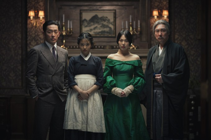 HA Jung-woo, KIM Tae-ri, KIM Min-hee and CHO Jin-woong in THE HANDMAIDEN, an Amazon Studios / Magnolia Pictures release. Photo courtesy of Amazon Studios / Magnolia Pictures.