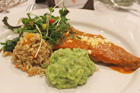 Chile Relleno with Poblano Rice, Ranch Guacamole and Oregano Sauce.