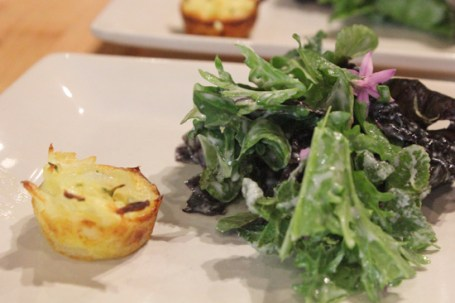 Miniature Onion and Goat Cheese Appetizers paired with Salvador's Super Salad