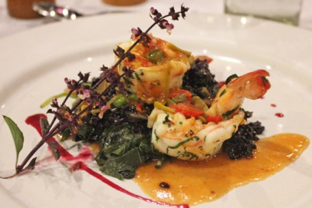 Spicy Shrimp with Black Rice and Veracruzana Sauce