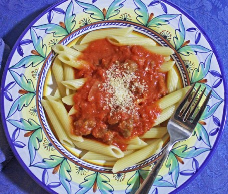 Penne Arrabiata's secret ingredients - vodka and spicy red pepper.