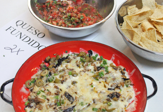 Queso Fundido with Mushrooms and Olives
