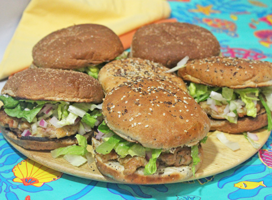 Chicken Satay Burgers are a crowd pleaser.