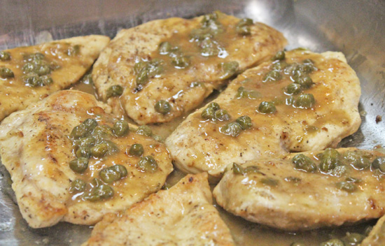 We made Chicken Piccata for 20 people at our La Cucina Italiana class using two skillets.