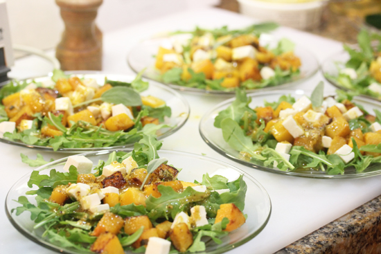 Pumpkin Salads served over fresh arugula ready for a party.