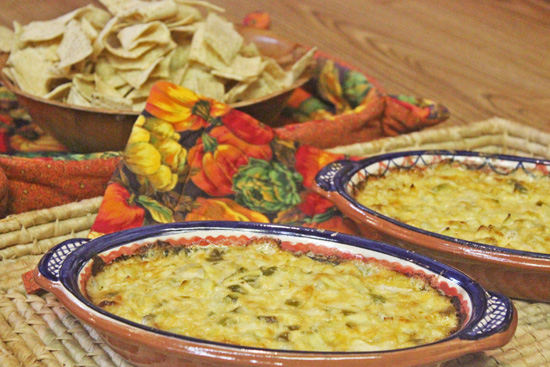 Two levels of heat filled these gratin dishes of Roasted Chile and Artichoke Dip