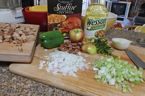 Turkey Stuffing ingredients.